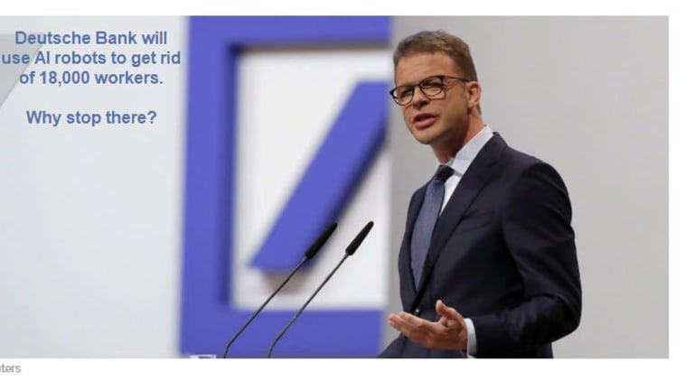 Deutsche Bank to Replace 18,000 Workers with Robots