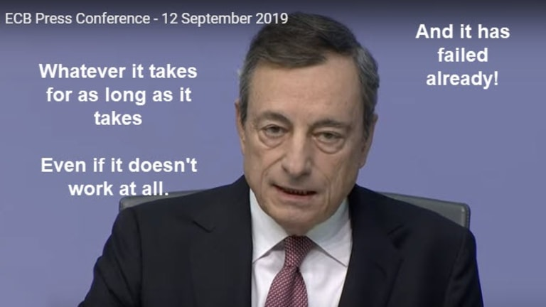 """ECB's New Interest Rate Policy """"As Long As It Takes"""" Huge Failure Already"""