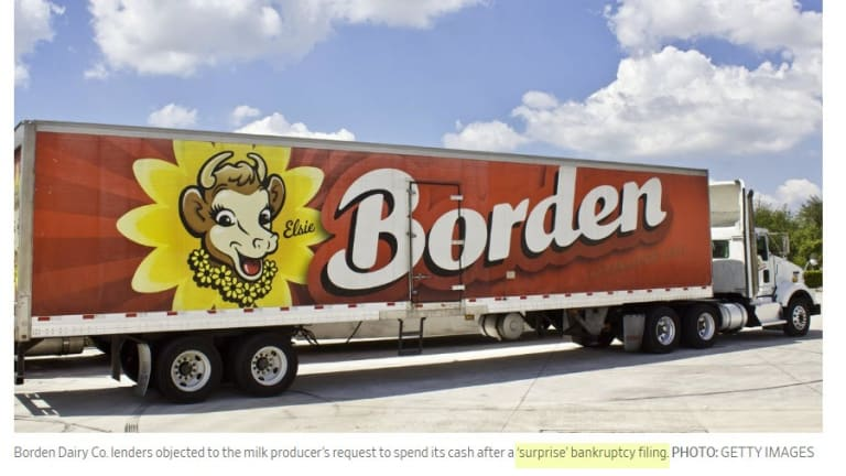Dairies in Trouble: Borden Makes Surprise Bankruptcy Filing