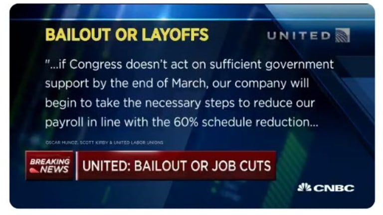 """United Airlines CEO Threatens Congress """"Bailout or Layoffs"""""""