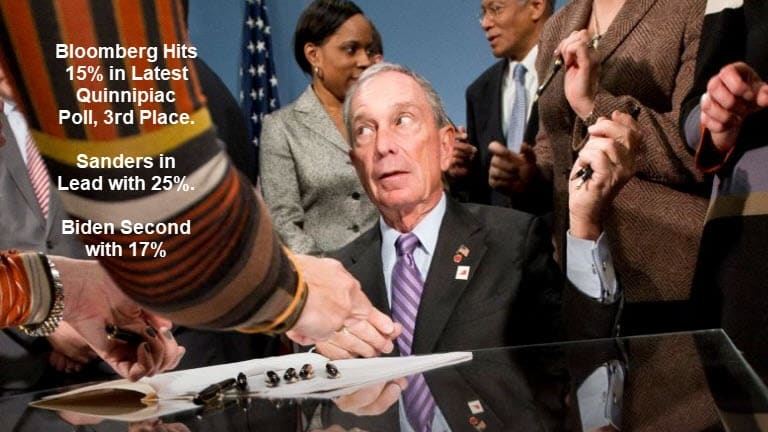 Bloomberg Soars to 15% in Latest Quinnipiac Poll