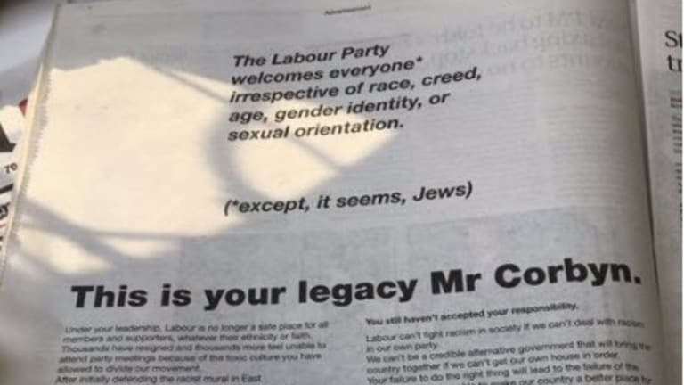 67 Labour Party Members Attack Corbyn's Anti-Jewish Leadership in Newspaper Ad