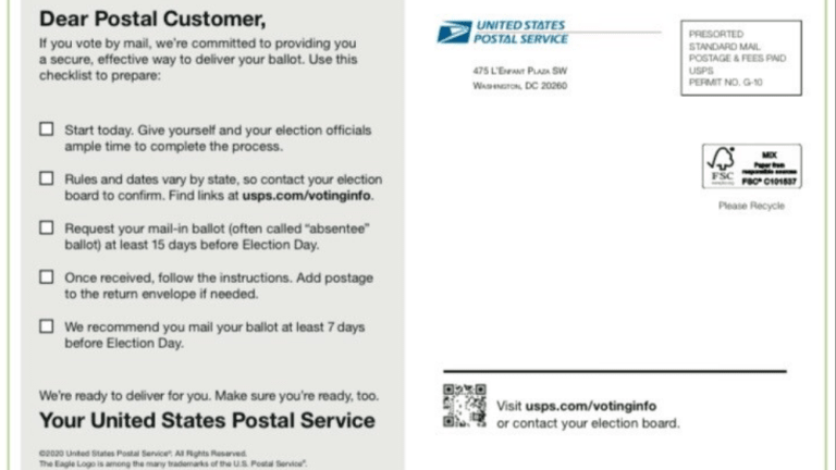 USPS Intentionally Delivers False Election Procedures in Two States