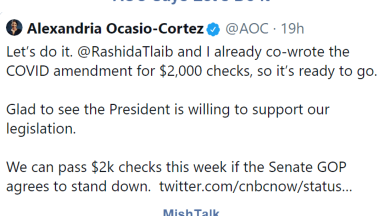 AOC Agrees With Trump's Request to Send $2,000 Free Money to Everyone