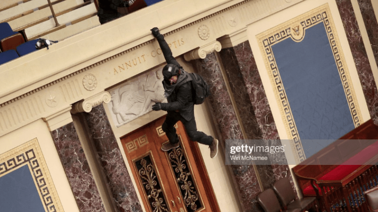 Photos of the Day: Protestor Hangs From Senate Balcony