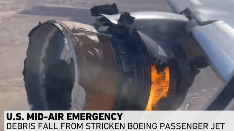 Passenger Takes Video of Boeing 777 Engine Catching Fire and Breaking Apart