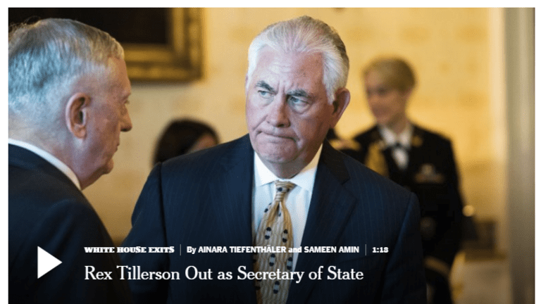 Sec of State Tillerson Fired: From Bad to Worse, Iran Warmonger In