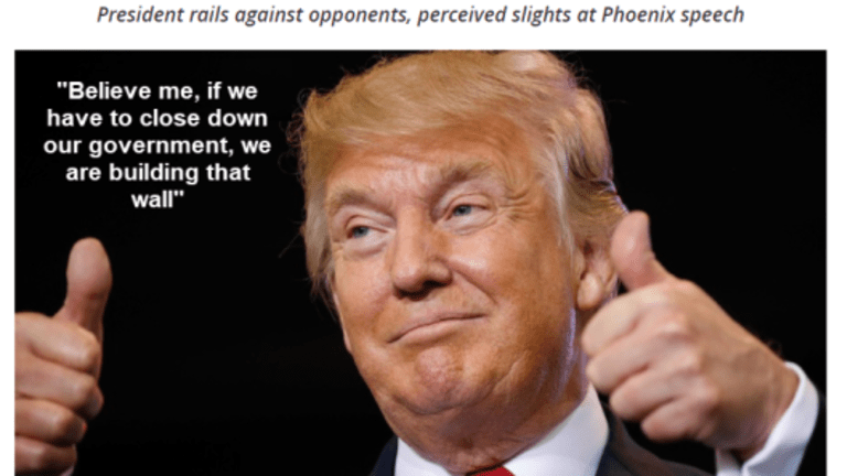 Bombastic Trump Threatens to Shut Down Government if Congress Does Not Approve the Wall