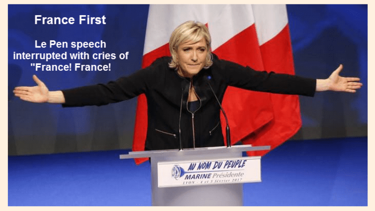 """France First: Marine Le Pen Speech Interrupted by Cheers """"France! France!"""""""