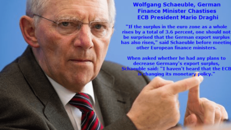 Germany's Finance Minister Blames ECB For German Trade Surplus; Why the Eurozone Will Destruct