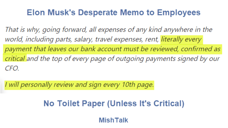 """No Toilet Paper Unless Critical: Musk, CFO to Approve """"Literally"""" Every Expense"""