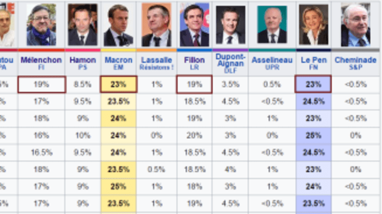 Wild French Polls: Spread Between Top Four Candidates Shrinks to 4 Percentage Points