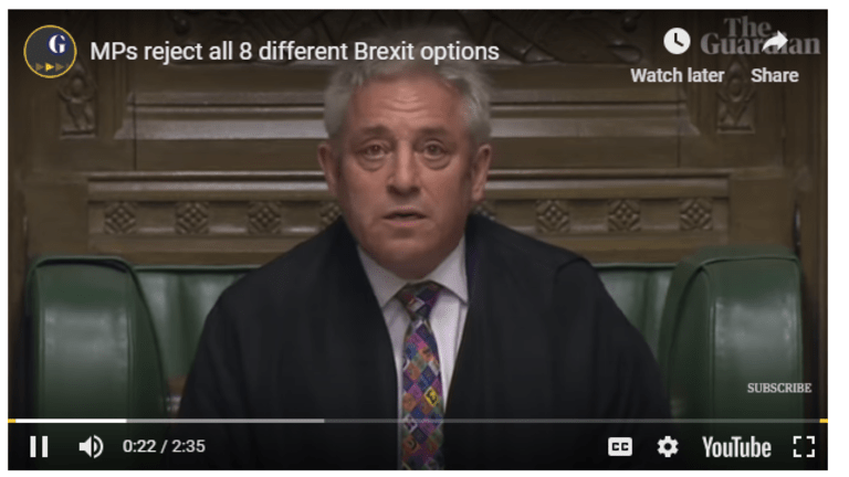 Too Funny: MPs Reject All Alternative Brexit Options