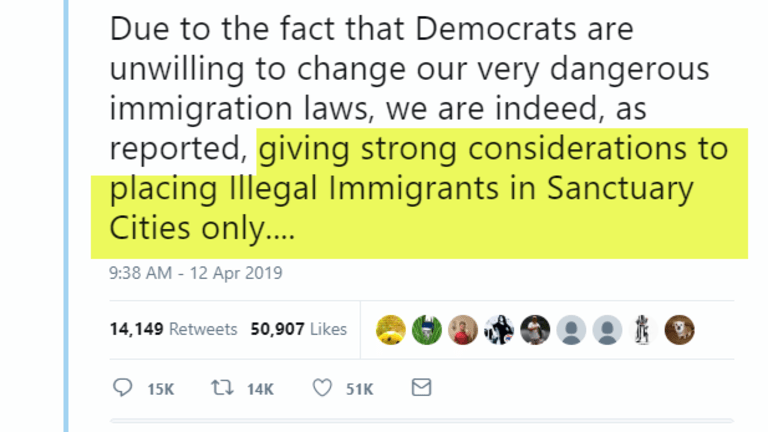 Trump Tweet: Send Illegal Immigrants to Sanctuary Cities Only