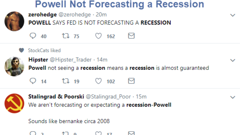 "Powell ""Not Forecasting a Recession"""