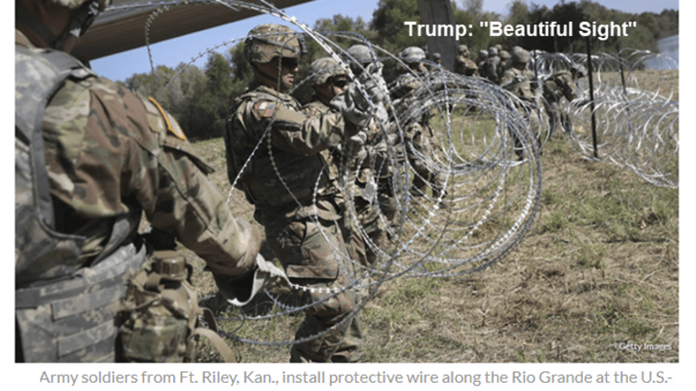 """Trump Calls Barbed Wire Fence a """"Beautiful Sight"""""""