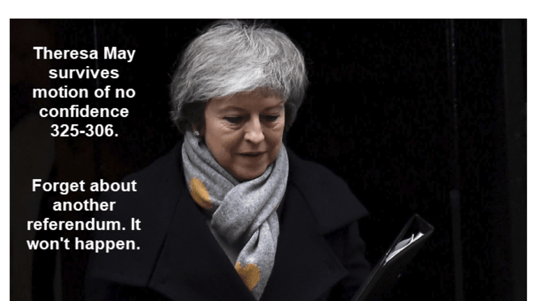 Theresa May Survives Vote of No Confidence 325-306