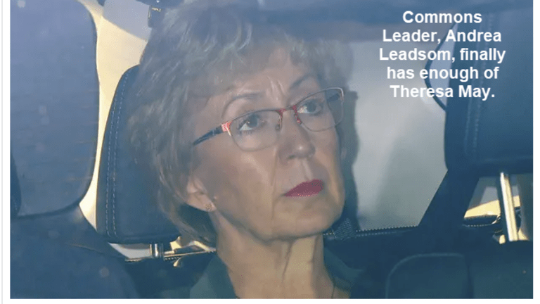 Commons Leader, Andrea Leadsom, Resigns Over Theresa May's Brexit bill