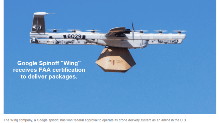 """FAA Approves Google's """"Wing"""" Spinoff as an Airline for Commercial Drone Delivery"""