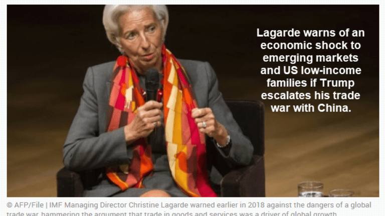 Lagarde Warns of Emerging Market and Low-Income Shocks by Trade War With China