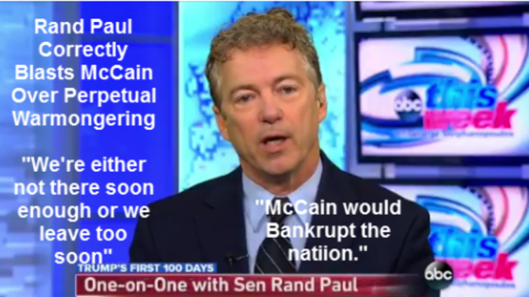 """Rand Paul Blasts McCain Over Perpetual War: """"He Would Bankrupt the Nation"""""""