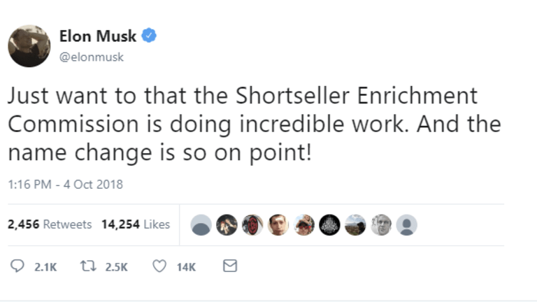 """Musk Taunts the SEC in a Tweet on the """"Shortseller Enrichment Commission"""""""