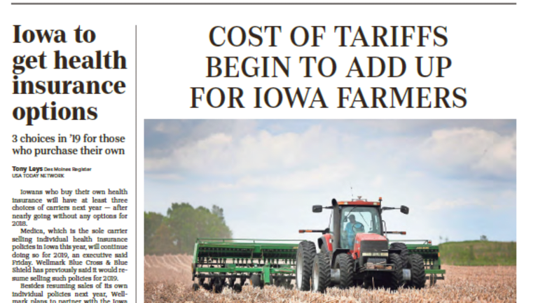 """Des Moines Register: """"China Tariffs Could Cost Iowa Farmers Up to $624 million"""""""