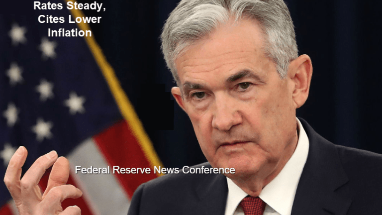 Wait-and-See Fed Cites Leaves Rates Unchanged, Notes Lower Inflation