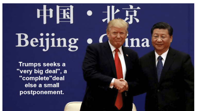 """Trump Wants a """"Very Big Deal"""" With China, Else a """"Little"""" Postponement"""