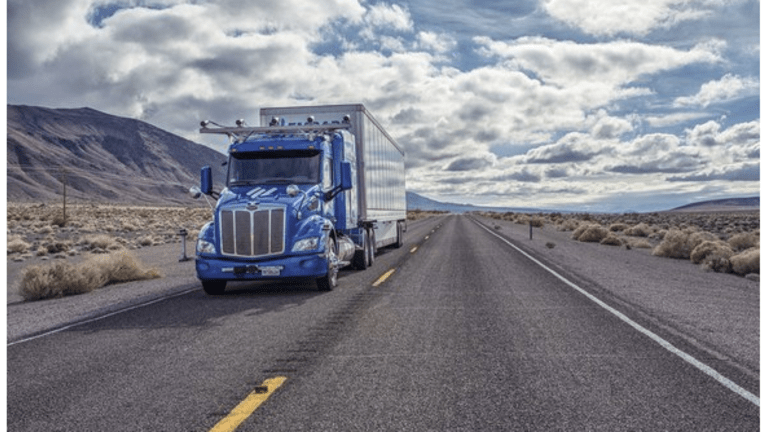 Self-Driving Trucks Delivering Frigidaire Refrigerators On I-10 from El Paso to Palm Springs
