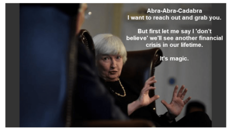"""Abra Cadabra: Yellen """"No Financial Crisis in Our Lifetime"""" vs Fed's Kashkari """"67% Chance of Another"""