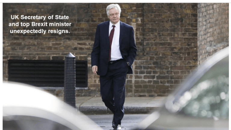 UK Brexit Minister David Davis Unexpectedly Resigns Leaving Government in Peril