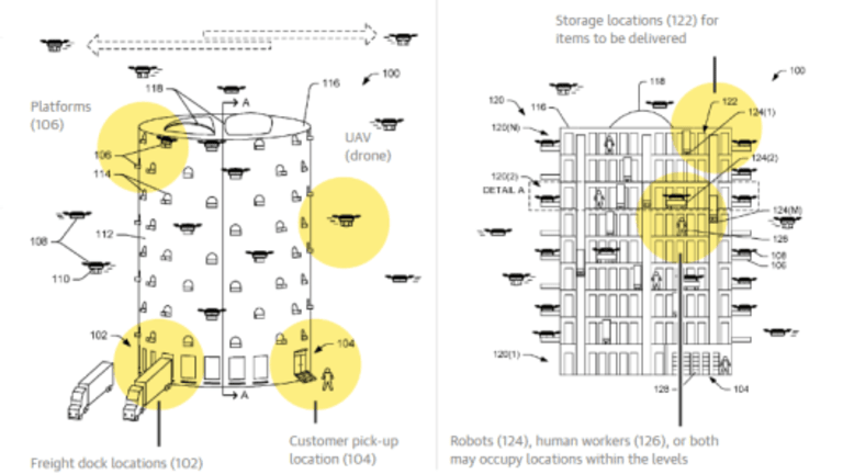 """Amazon Unveils Patented """"Behive"""" Drone Delivery System for Cities"""