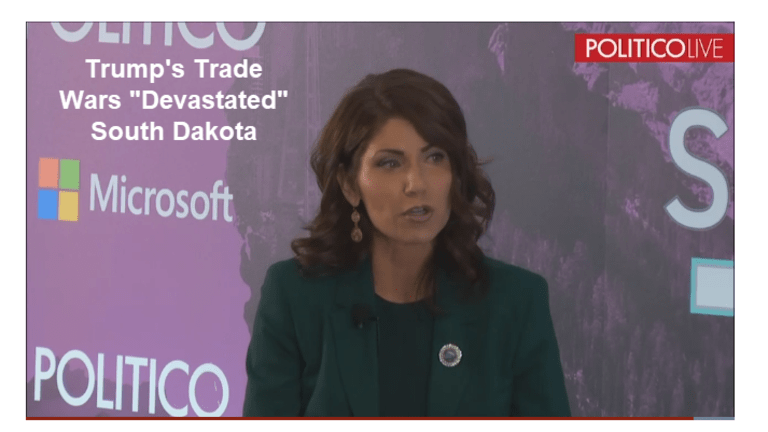 "Governor Kristi Noem Says Trump's Trade Wars ""Devastated"" South Dakota"