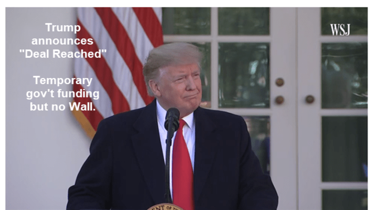 """Trump Announces """"Deal Reached"""": Temporary Deal No Wall Funding"""