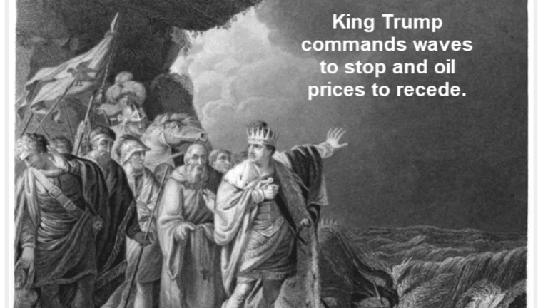 King Trump Shouts at the Ocean: Stop the Waves