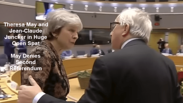 Theresa May and Jean-Claude Juncker in Public Spat, May Denies 2nd Referendum