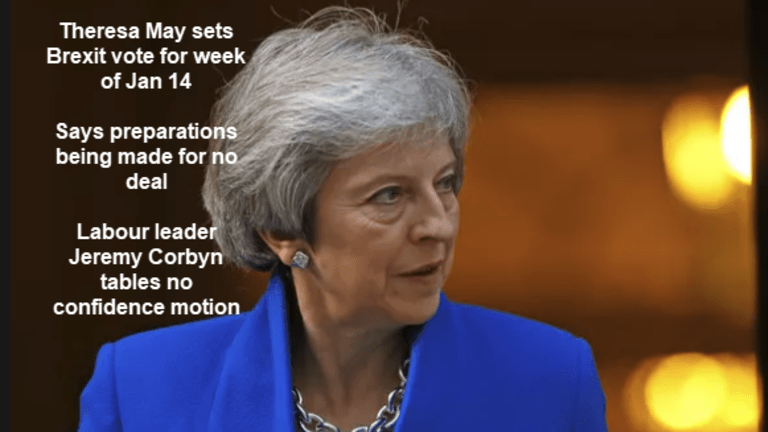 Corbyn Tables No Confidence Motion After May Sets Brexit Vote Week of Jan 14