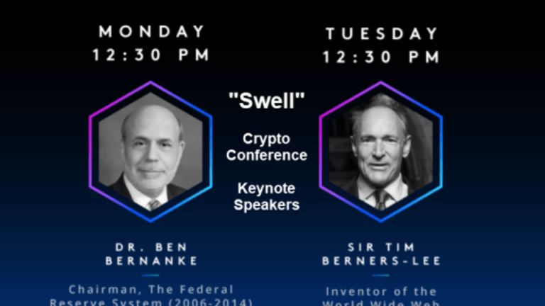 """""""Swell"""": Bernanke to Give Keynote Speech at October Cryptocurrency Event"""