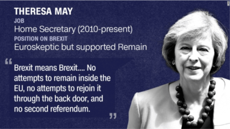 """Theresa May becomes UK PM on Wednesday: """"No Second Referendum, No Back Door Reentry"""""""