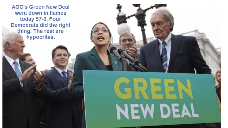 Hypocrite Democrat Senators Refuse to Back AOC's Green New Deal