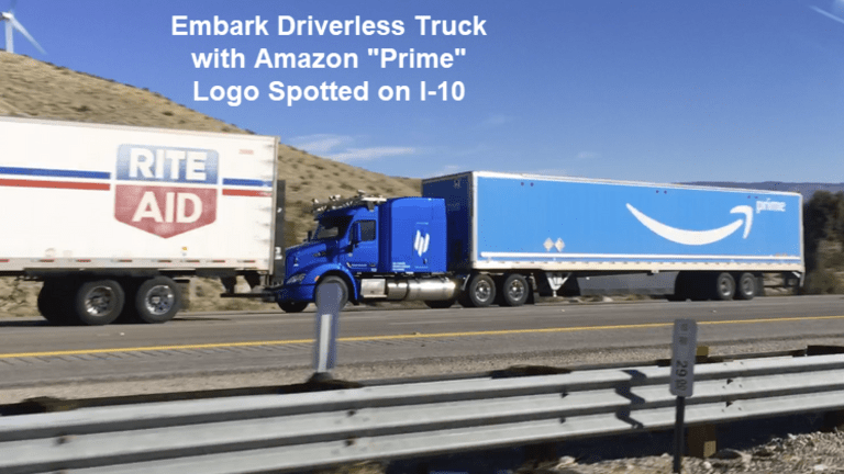 Amazon Hauling Cargo on I-10 in Self-Driving Trucks Developed by Embark