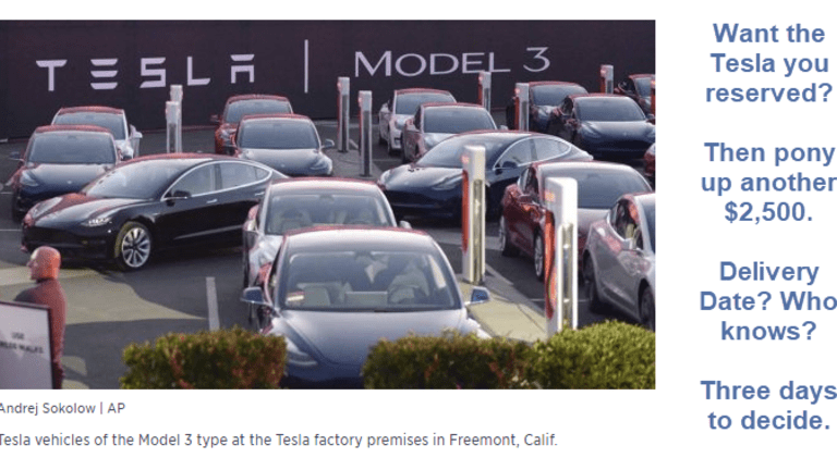 Tesla Demands Extra $2,500 from reservation holders: No Delivery Date Promised