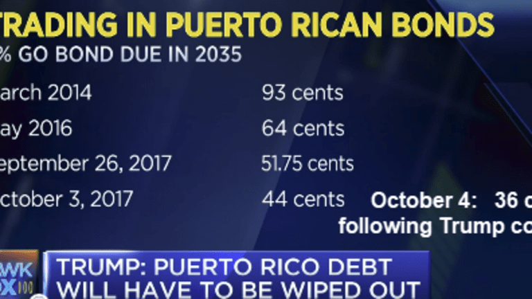Puerto Rico Bonds Collapse to 36 Cents on Dollar following Trump Comments