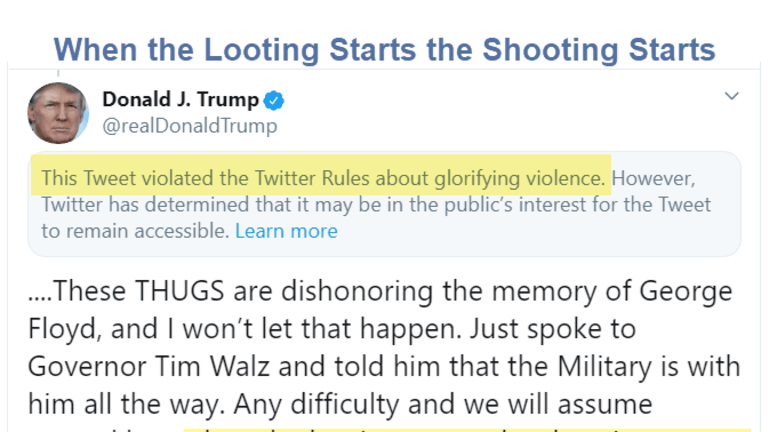 Twitter Cites Trump for Glorifying Violence