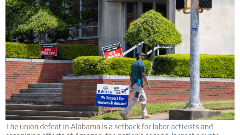 By an Overwhelming Margin Alabama Amazon Workers Reject the Union