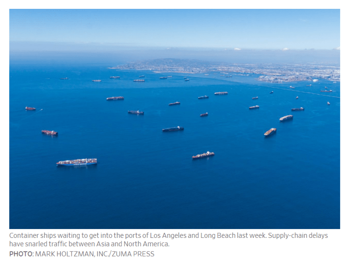 Container ships waiting