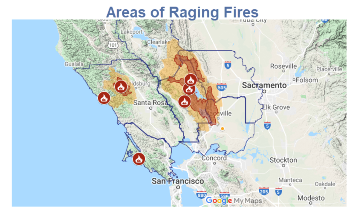 Areas of Raging Fires