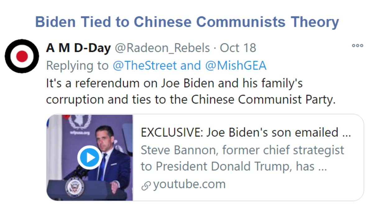 Biden Tied to Chinese Communists Theory