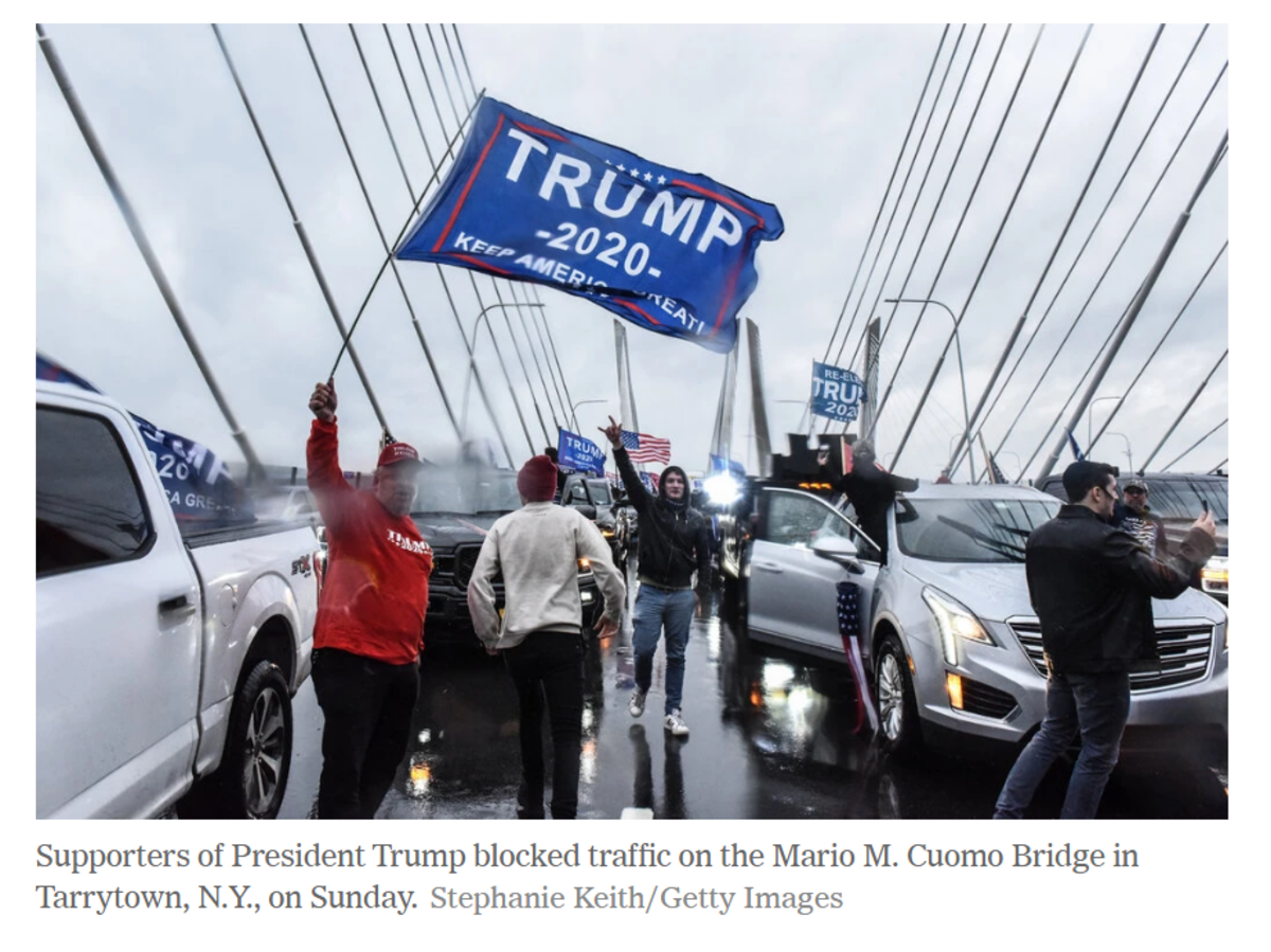 Supporters of President Trump Block Traffic